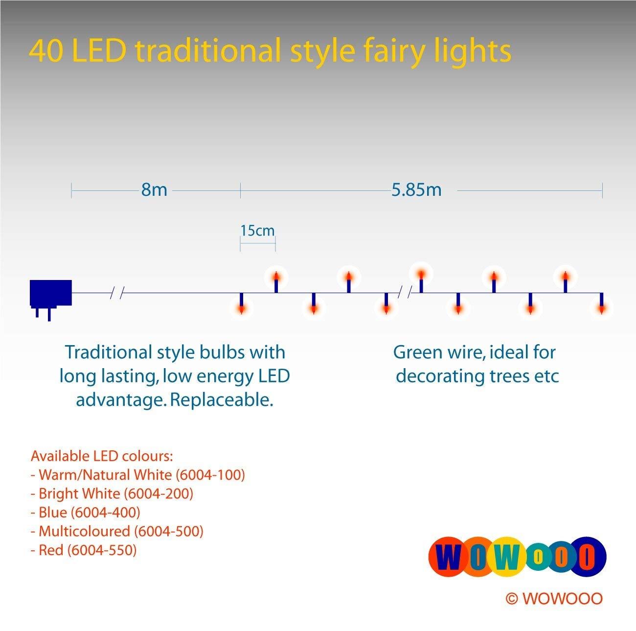 Konstsmide 6004-100 40 diodos de blanco c/álido, dise/ño retro, transformador exterior 24 V, 2,4 W, cable verde Guirnalda peque/ña LED para el /árbol de navidad