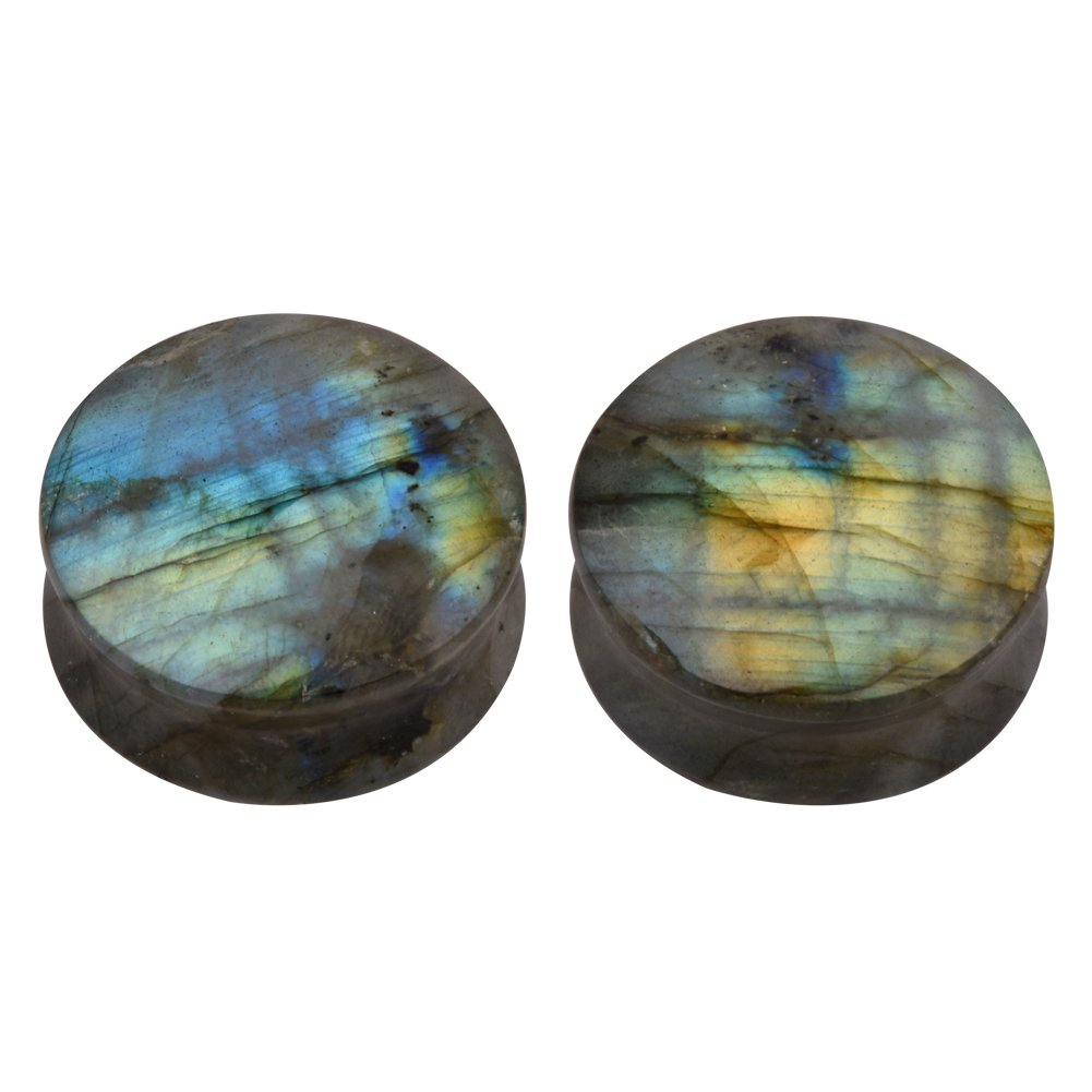 TOPBRIGHT Pair of Labradorite Stone Earring Gauges Organic Flesh Ear Tunnels Expander Plugs by TOPBRIGHT