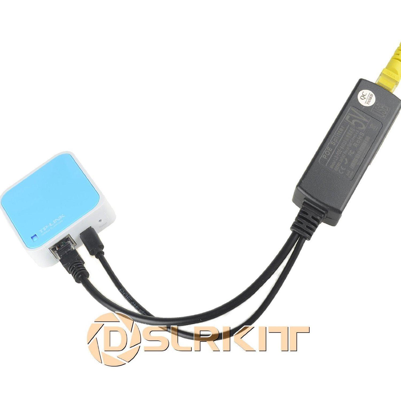 DSLRKIT Active PoE Splitter Power Over Ethernet 48V to 5V 2.4A Micro USB Plug for Raspberry Pi B//B+//2//3