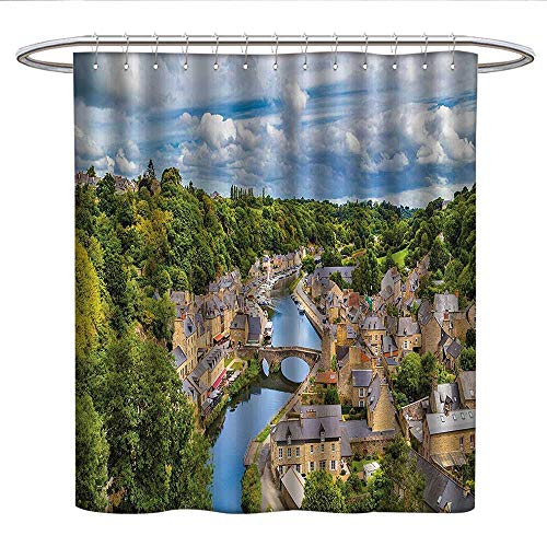 Price comparison product image Wanderlust Decor Collectionkids Shower curtainDramatic Clouds Over Ancient Town of Dinan Rance River Northwestern France Landscape PrintRound Shower Curtain rodGreen