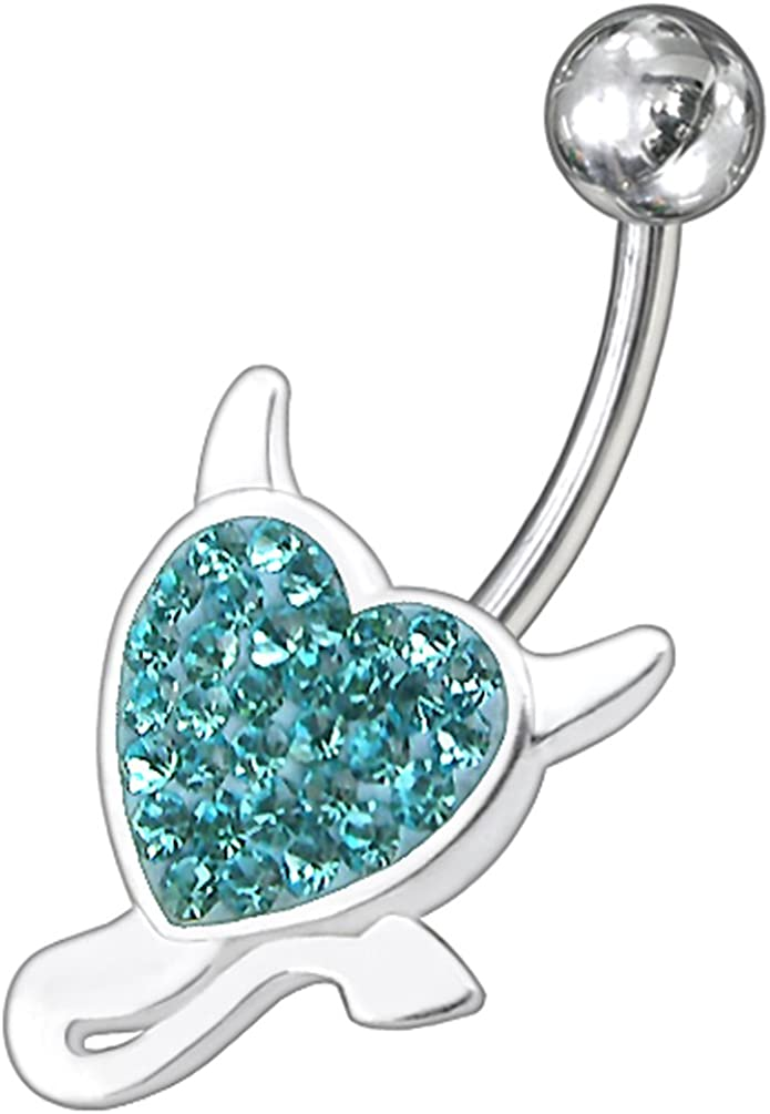 NEW HEART SHAPED BLUE TURQUOISE COLOR GEM ON CLEAR CZ 14g BELLY BUTTON RING BAR