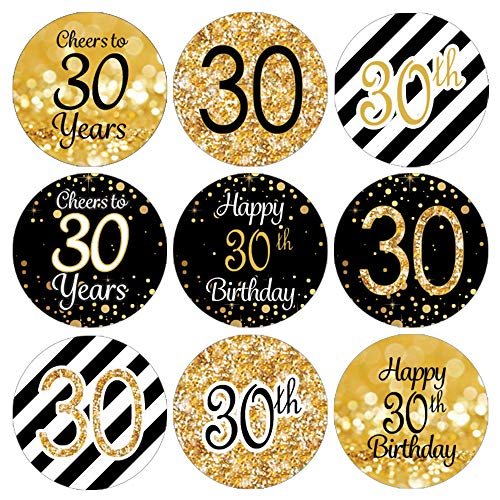 Black and Gold 30th Birthday Party Favor Labels | 180 ()