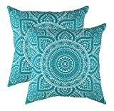turquoise throw pillow  Decorative Square Throw Pillow Covers Set Mandala Accent 100% Cotton Cushion Cases Pillowcases (18 x 18 Inches / 45 x 45 cm; Turquoise in Cream Background) - Pack of 2