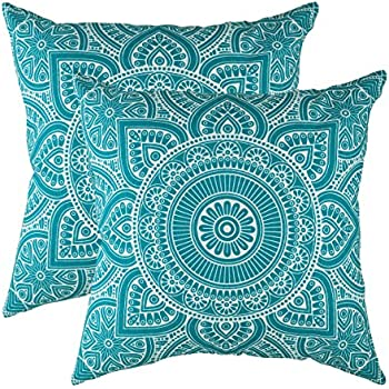 TreeWool Decorative Square Throw Pillowcases Set Mandala Accent 100% Cotton Cushion Cases Pillow Covers (20 x 20 Inches / 50 x 50 cm; Turquoise in Cream Background) - Pack of 2