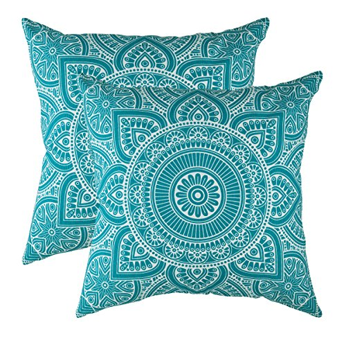 Decorative Square Throw Pillow Covers Set Mandala Accent 100% Cotton Cushion Cases Pillowcases (18 x 18 Inches / 45 x 45 cm; Turquoise in Cream Background) - Pack of 2