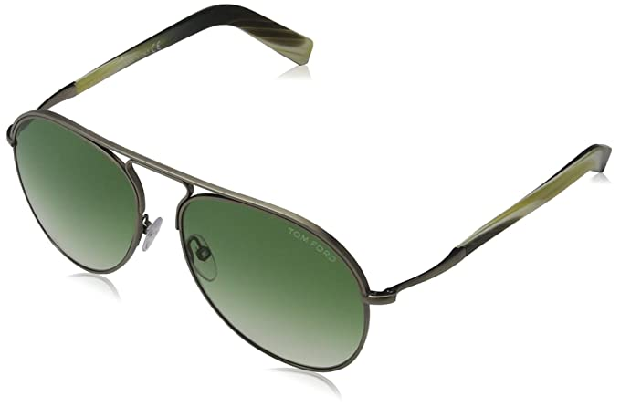 43f3567f2ab2 Tom Ford FT0448 C56 14P (shiny light ruthenium   gradient green) Sunglasses   Amazon.co.uk  Clothing