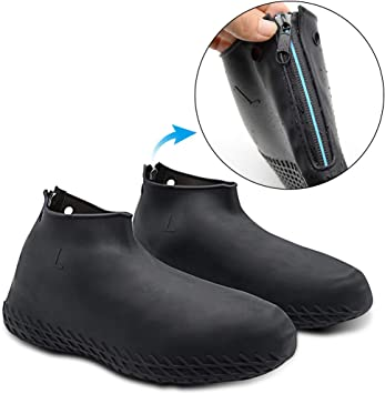 EE/_ SILICONE ELASTIC REUSABLE WATERPROOF SHOE COVER FOR WALKING RAINING HIKING F
