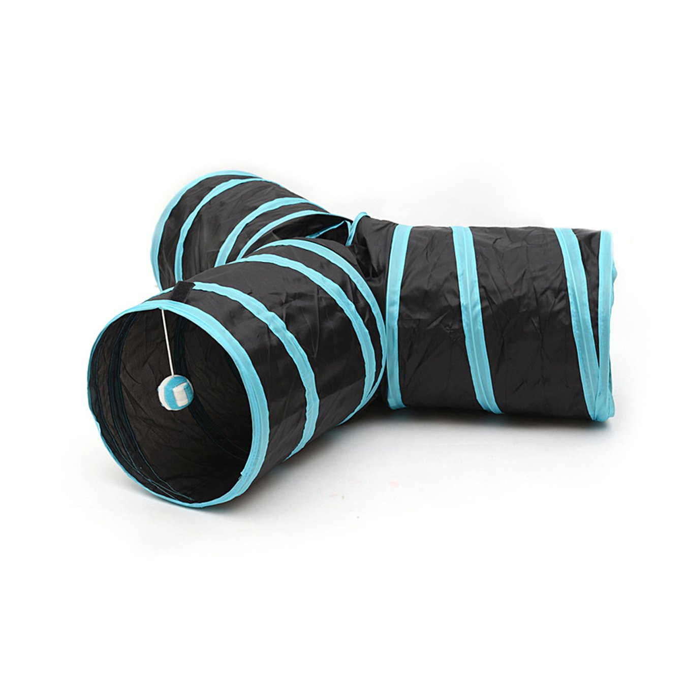 PAMPURR Pet Toy Tunnel 3 Way Cat Tunnel Collapsible with Ball for Cat for Puppy, Kitty, Rabbit