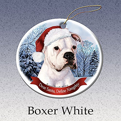 White Christmas Santa Hat - Holiday Pet Gifts Boxer, White Santa Hat Dog Porcelain Christmas Tree Ornament