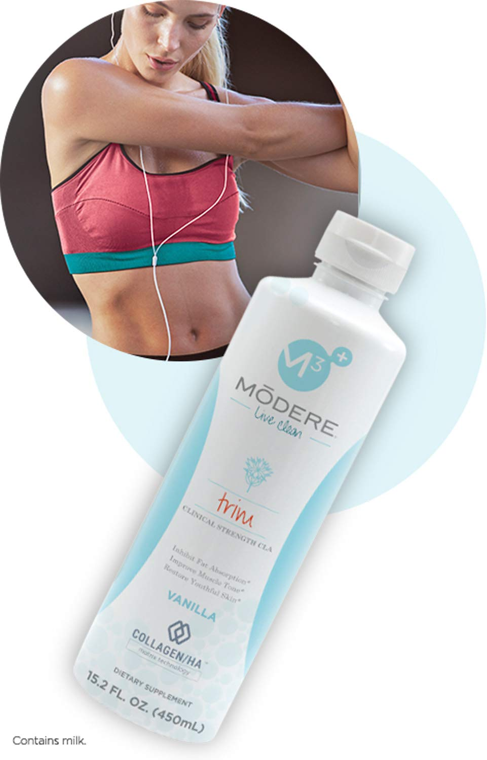 Modere Trim Vanilla Collagen Weight Loss Toning All Natural Supplement with Hyaluronic Acid & Peptides