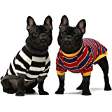 Fitwarm 2-Pack 100% Cotton Striped Dog Shirt for Pet Clothes Puppy T-Shirts Cat Tee Breathable Stretchy Black-White Yellow Bl