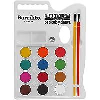 Barrilito ACP12 Acuarela y 2 Pinceles Premium, 12 Colores