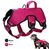 Didog Multi-Use Escape Proof Dog Harnesses for Escape Artist Dogs,Reflective Adjustable Vest Harlter with Durable Handle and Leash Ring for Medium Large Dogs Hiking Walking Trails,Hot Pink,M Size