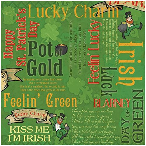 Karen Foster Design Scrapbooking Paper, 25 Sheets, Kiss Me I'm Irish Collage, 12 x - Foster Karen Design Paper Collage