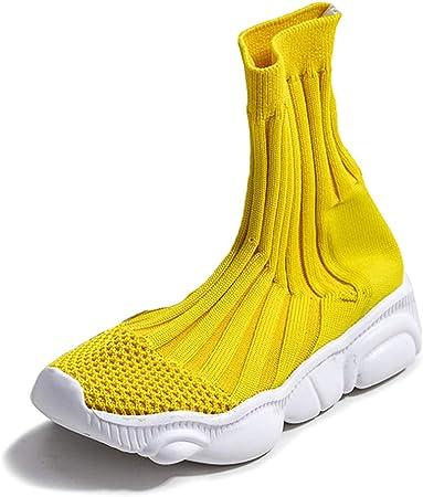 Zapatillas De Running Para Niñas, Zapatillas De Deporte De Calcetines Zapatillas De Gimnasia De Punto Cómodo Zapatos De Zapatillas De Calcetín Zapatillas De Deporte Casuales Para Niños,Amarillo,32: Amazon.es: Hogar