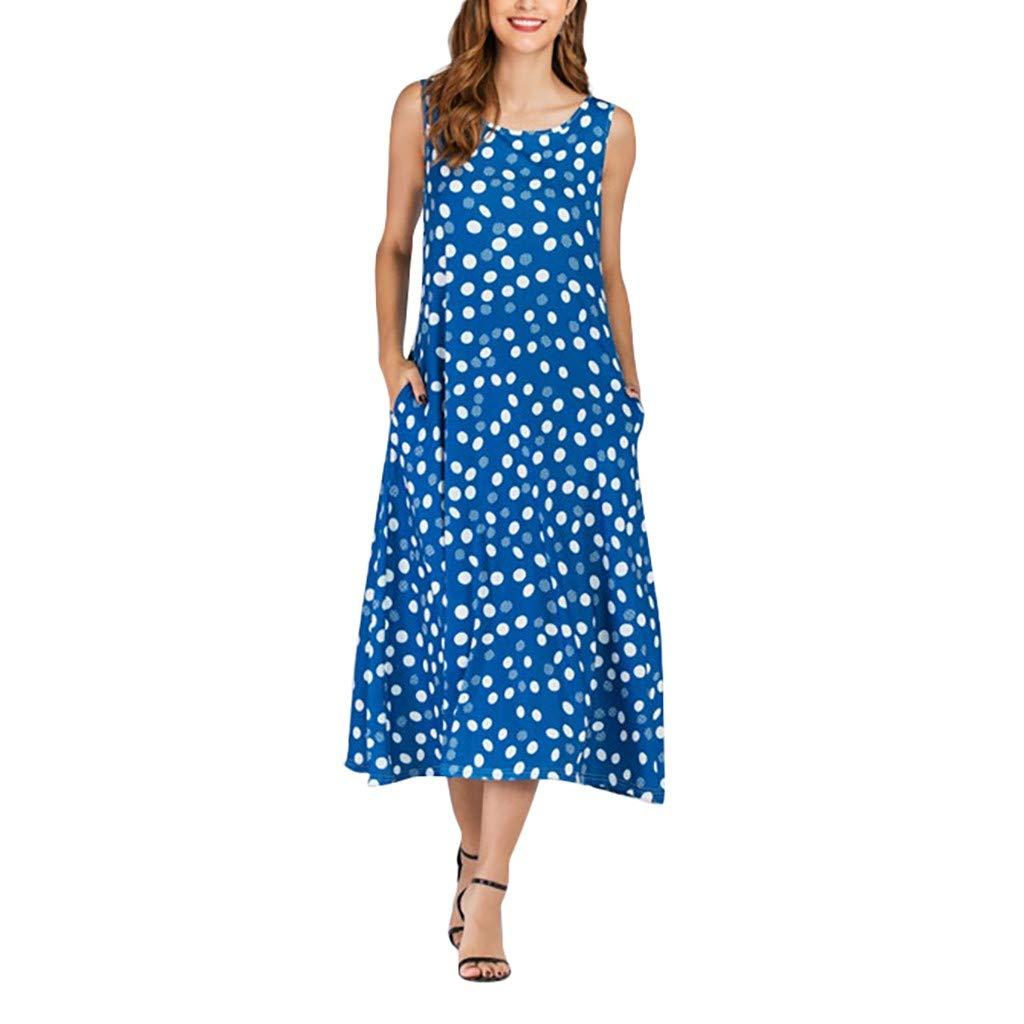 Women Shift Tank Dress | Ladies Fashion Polka Dot Crew Neck Sleeveless Midi T Shirts Dresses | Casual Loose Dress with Pocket