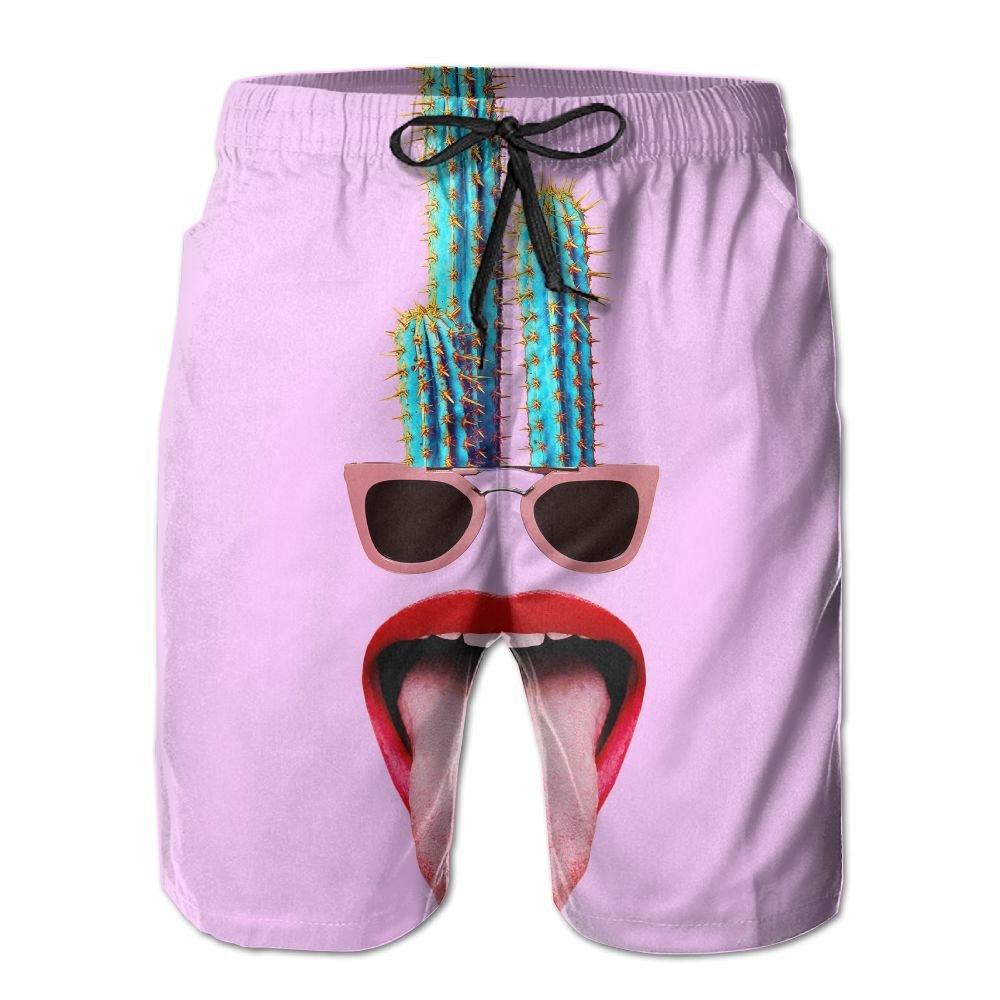 Mens Beach Shorts, Funny Cactus Sunglasses Sexy Hot Shorts for Men Boys, Outdoor Short Pants Beach Accessories