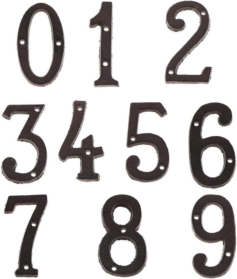 Sharplace 10 Pcs Fer Forg/é Antique Maison Porte Num/éro Signe Plaque Diy Chiffre Lettre 0-10