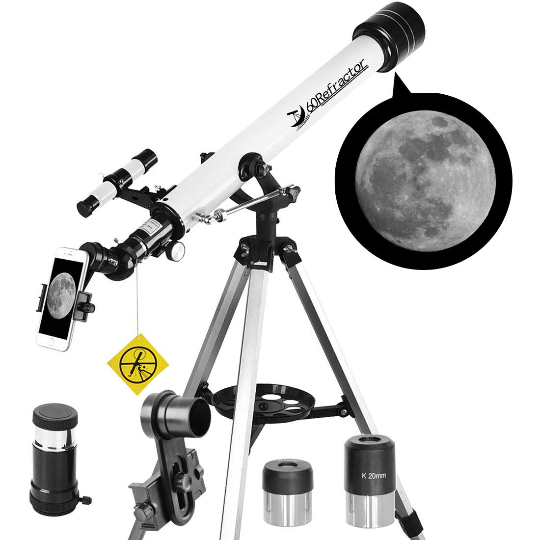 Telescope 60mm Apeture 700mm AZ Telescope - Refractor & Travel Scope for Beginners and Kids to Observe Moon and Planet with Tripod and 10mm Eyepiece Smartphone Adapter by DoubleSun