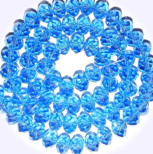New Sapphire Blue AB 10mm Rondelle Faceted Cut Crystal Glass Jewelry-Making Beads 22-inch DIY Craft Supplies for Handmade Bracelet Necklace