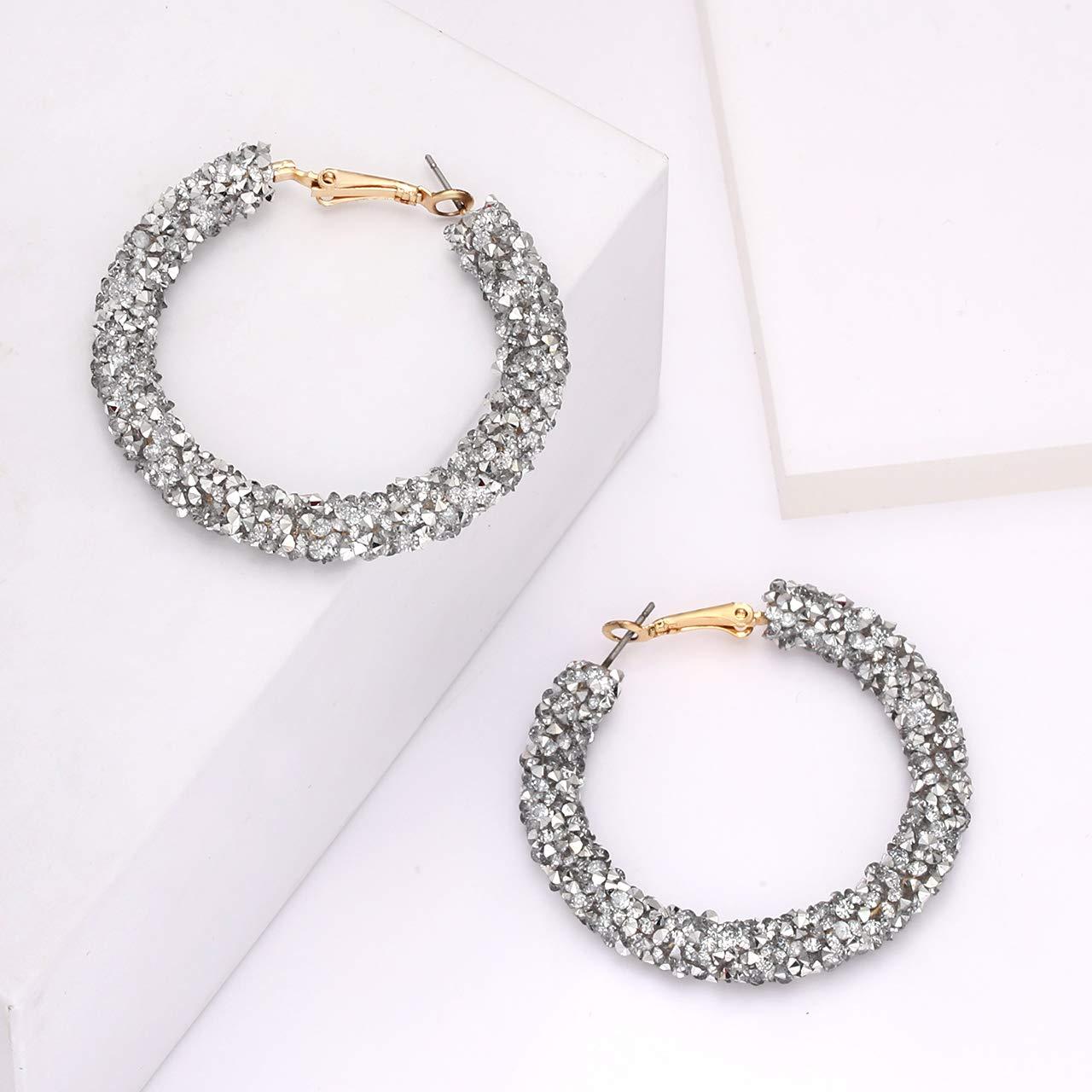 NLCAC Glitter Hoop Earrings Bohemian Sparkle Resin Rhinestone Wrapped Hoop Dangle Earrings for Women Girls
