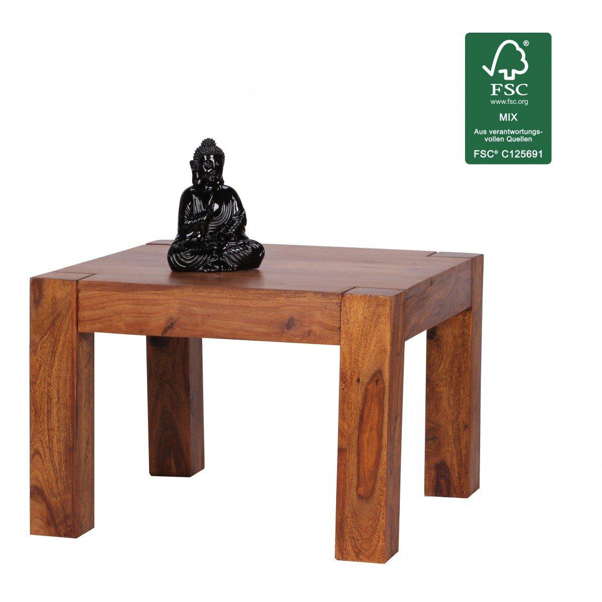 FineBuy Couchtisch Massiv Holz Sheesham 60 Cm Breit Wohnzimmer Tisch Design Dunkel Braun Landhaus Stil Beistelltisch Natur Produkt Wohnzimmermbel Unikat