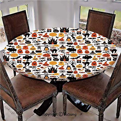 Elastic Edged Polyester Fitted Table Cover,Halloween Icons Collection Candies Owls Castles Ghosts October 31 Theme Decorative,Fits up to 36
