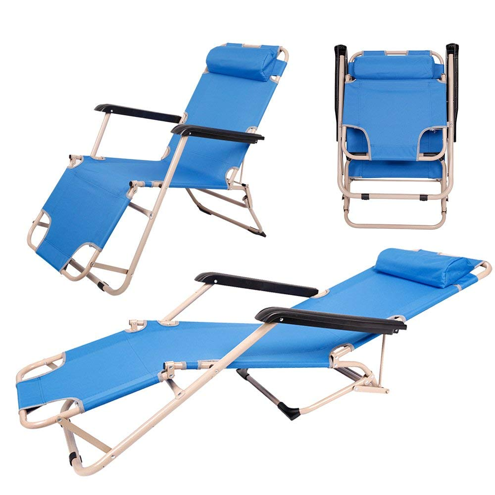 COLOR TREE Indoor Furniture Lounge Chair Outdoor Folding Portable Garden Beach Chair Light Blue