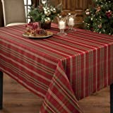 Benson Mills Christmasville Metallic Fabric Tablecloth, 60-Inch-By-84 Inch