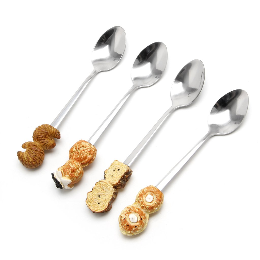 MB-LANHUA Cute Kids Resin Coffee Spoon Postre Cake Ice Cream Cucharas de Acero Inoxidable Cucharita de caf/é