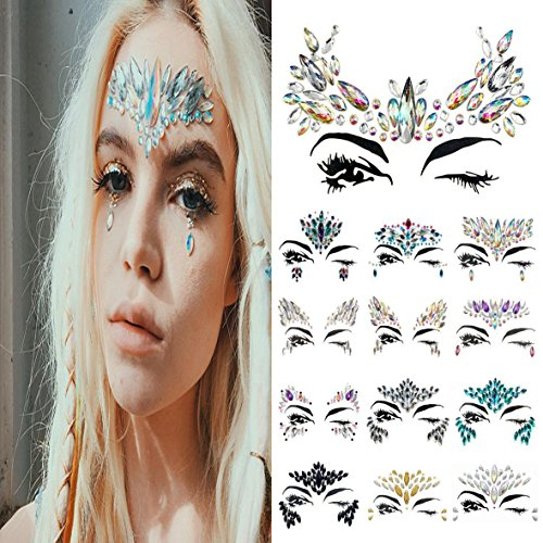 Vinmax Temporary Face Tattoos Eye Tattoo Face Jewel Stickers,4 Pack Festival Mermaid Rhinestones Rave Face Breast Jewel Tattoo & Chunky Glitter Colorful Mixed Paillette &Body Stickers (Collection 1) ()