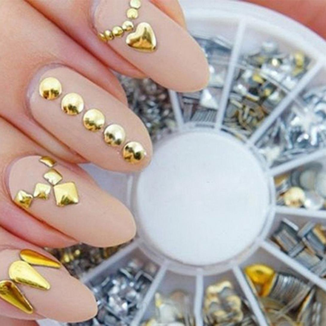 Binmer(TM)New 300 Punk Rivet Design Nail Art Sticker Tip Decal Manicure Metallic Gold Studs Nail Tips DIY