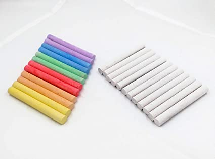 Tizas pack de 2, blancas 12 unidades más colores 12 unidades, sin polvo para pizarra: Amazon.es: Oficina y papelería