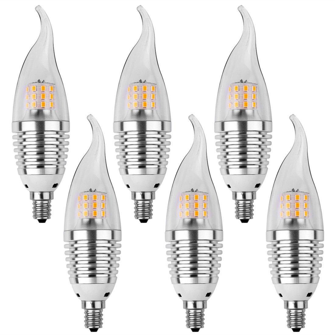 LEDMO LED Candelabra Bulb,Base E12 7W,Warm White,Sliver (6 Pack,Flame Tip)