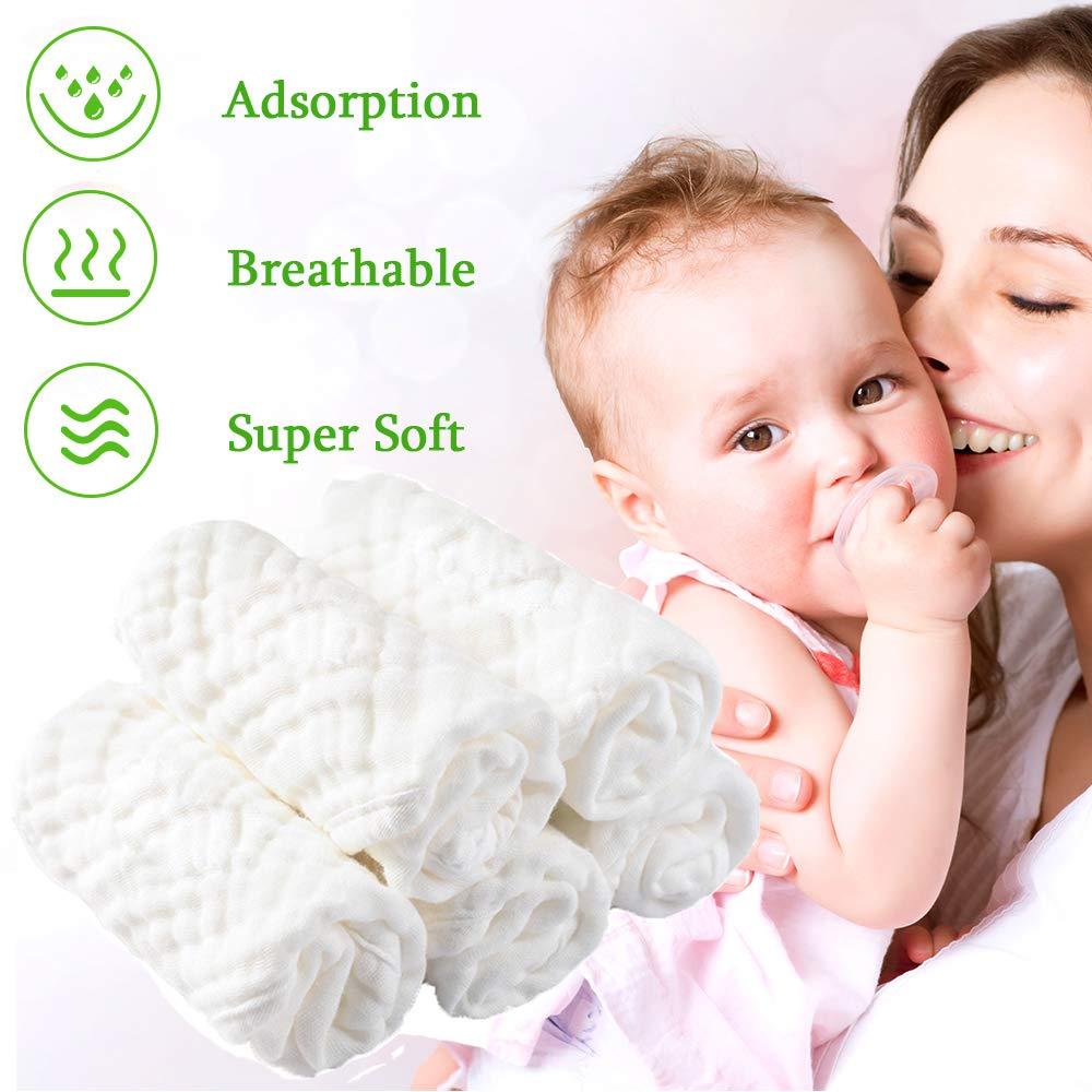 "Muselinas Toallas para Bebés, 100% Algodón Natural Toallitas para Bebés 12""x12"" - Suave y Transpirable Antibacteriano Natural Toallas Ideal para Piel ..."