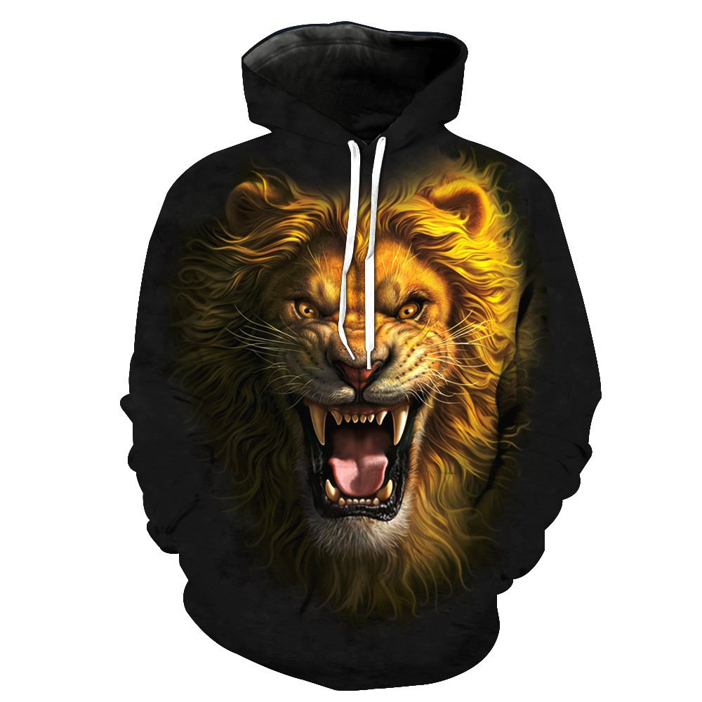 Unisex 3D Print Hooded Lion Pattern Mens Baseball Wear Breathable Sweater Sports Large Pocket Pullover