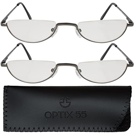 76d621a6f2 2 Men s Half Frame Reading Glasses With Pouch - Comfortable Gunmetal Frame  with Rubber Tip Temples