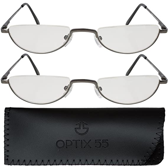 524764360b5 Amazon.com  2 Men s Half Frame Reading Glasses With Pouch - Comfortable  Gunmetal Frame with Rubber Tip Temples - Pack of 2 Readers - +100 - By  Optix 55  ...