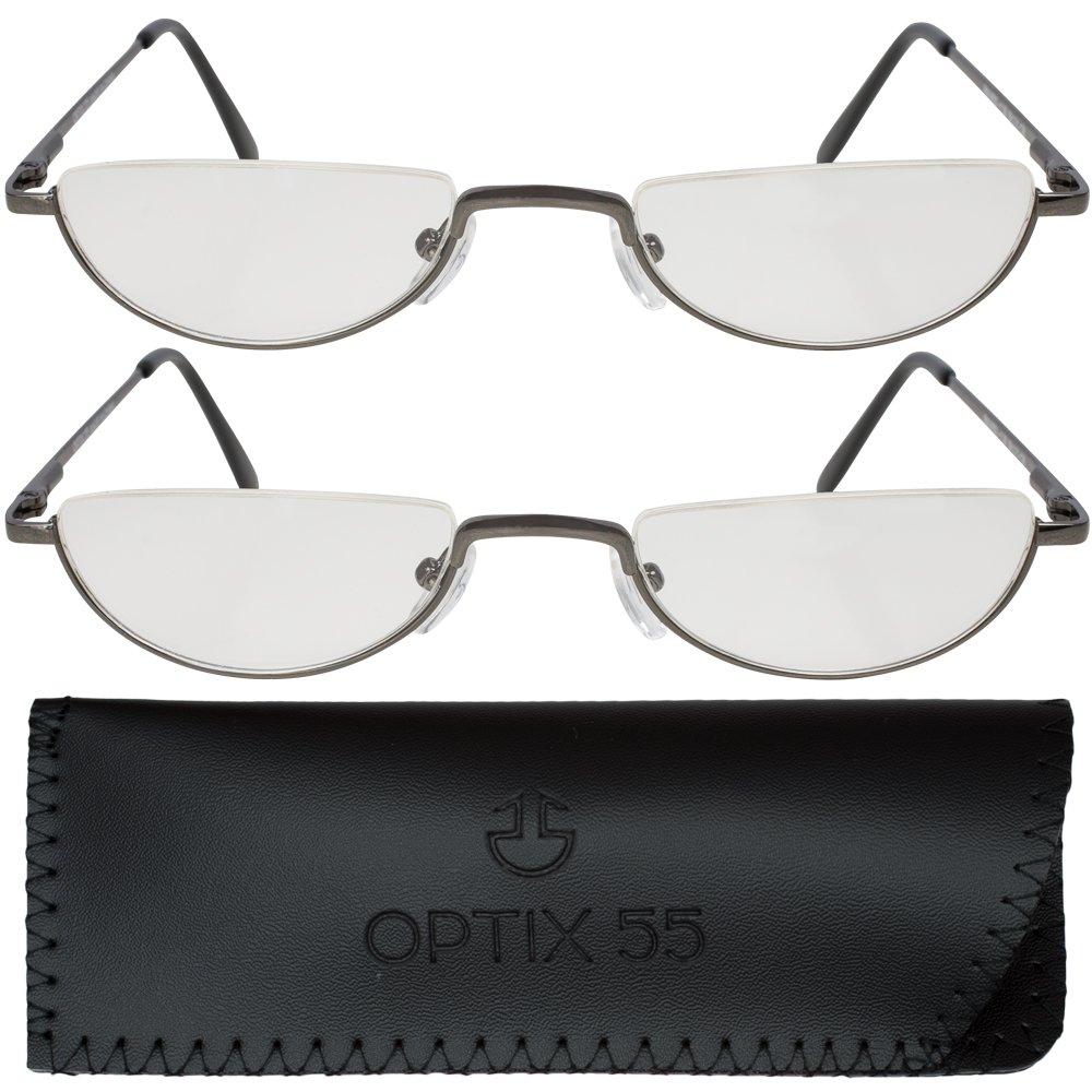2 Men's Half Frame Reading Glasses With Pouch - Comfortable Gunmetal Frame with Rubber Tip Temples - Pack of 2 Readers - +150 - By Optix 55 by Optix 55
