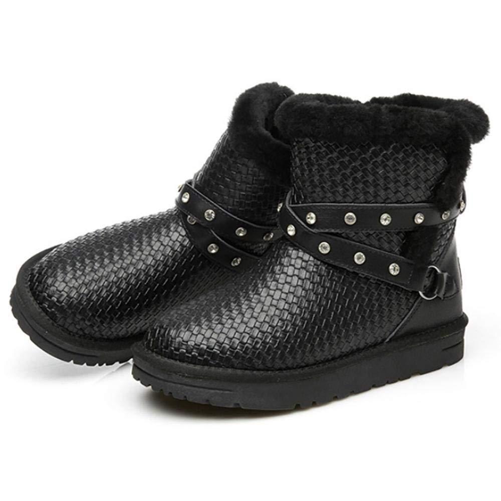 Fuxitoggo Schnee Stiefel Stiefel Stiefel Damen Schuhe Winter Warm Pelz Stiefel Stiefeletten Schneestiefe (Farbe   Schwarz, Größe   30) 518de6