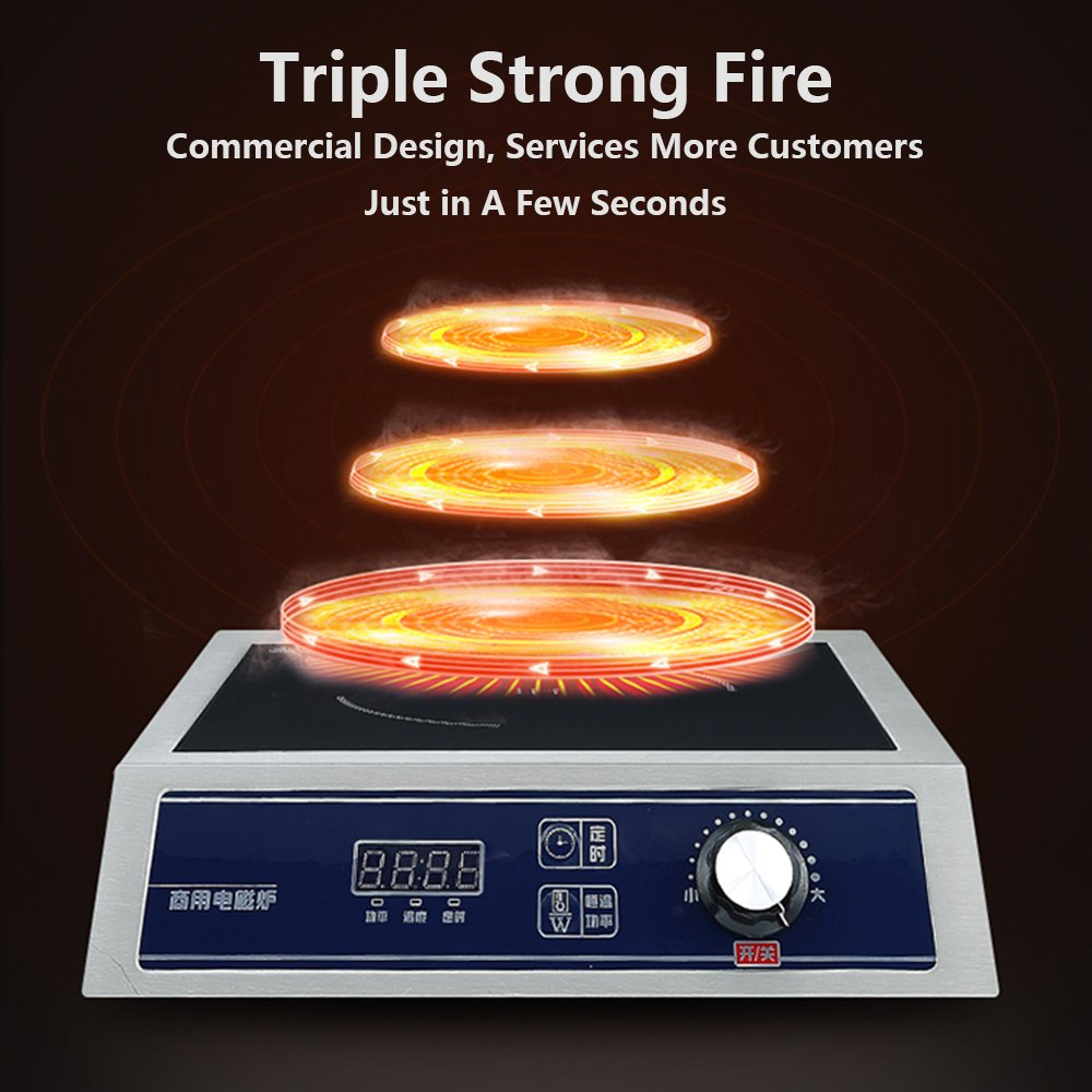 YIBEIHONG Restaurant Electric Countertop Commercial Induction Cooktop Range Burner 3500W