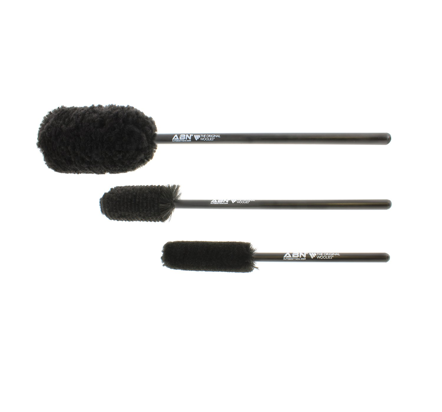 ABN Car Wheel Rim Cleaning 3-Piece Kit – Wheel Woolies Brush Stick Tool – Tire Woolie – Wooly Wand Set (3 Brushes) by ABN (Image #1)