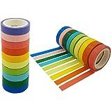 SACKORANGE Washi Tape, Decorative Diy Tape Washi Rainbow Candy Color Sticky Paper Masking Adhesive Tape Scrapbooking and Phone Diy Decoration, 20 Rolls