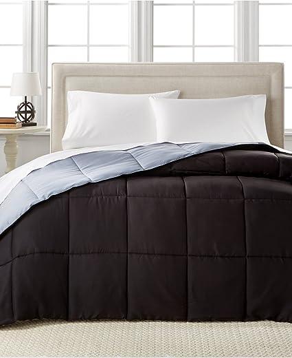 Home Design Down Alternative Color Full/Queen Comforter, Hypoallergenic  (Grey/Black)