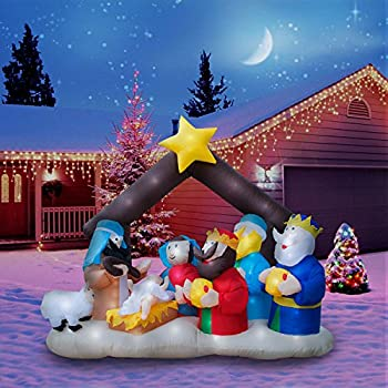 holidayana 65 ft giant inflatable christmas nativity scene featuring lighted interiorairblown inflatable christmas decoration with built in fan and