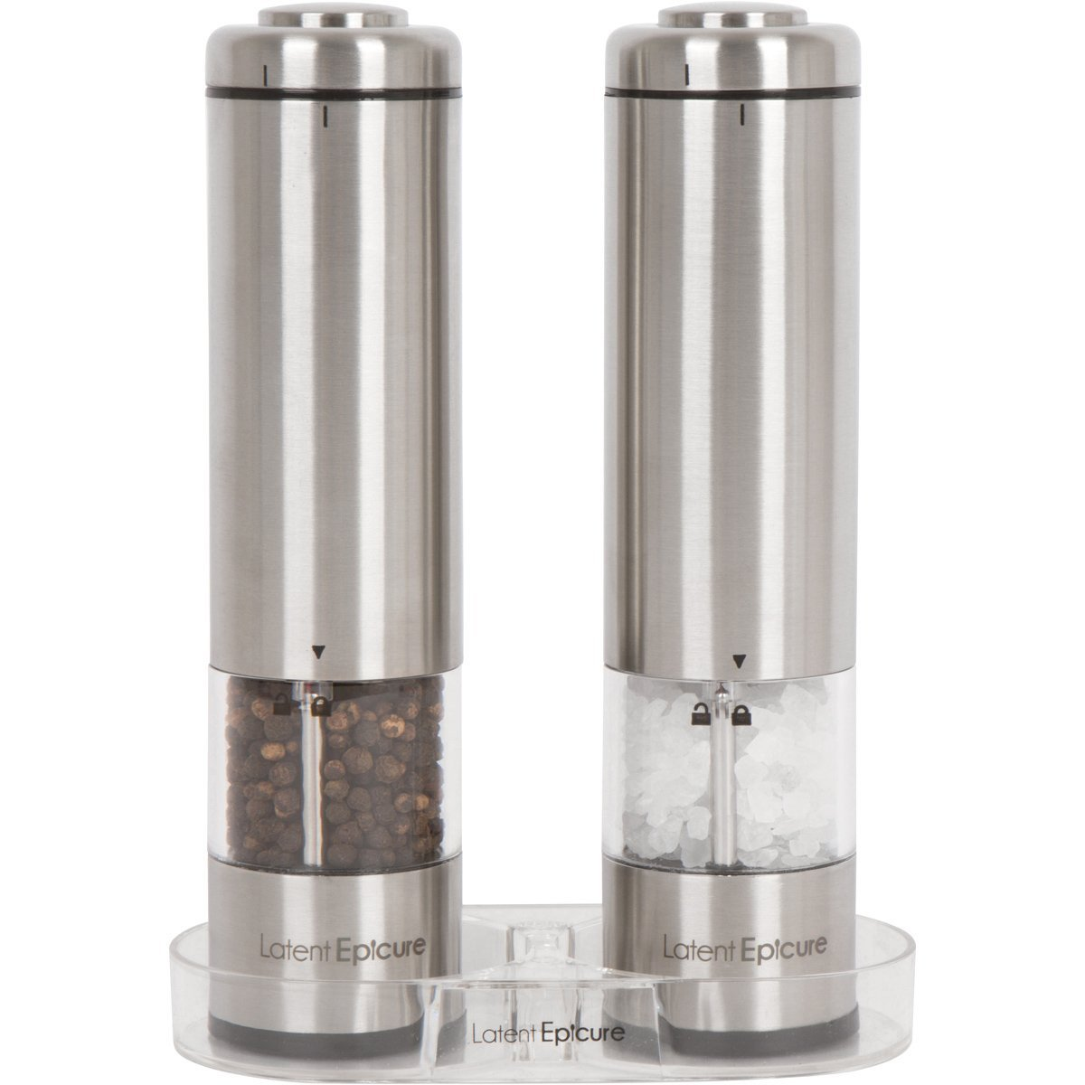 Latent Epicure Battery Operated Salt and Pepper Grinder Set (Pack of 2 Mills) - Complimentary Mill Rest | Bright Light | Adjustable Coarseness | by Latent Epicure