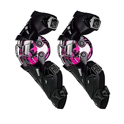 SCOYCO Amor Knee Guards for Motorcycle,Rotatable PP Shell Hard Collision Avoidance Knee Shin Protectors for ATV/BMX (Pink): Automotive