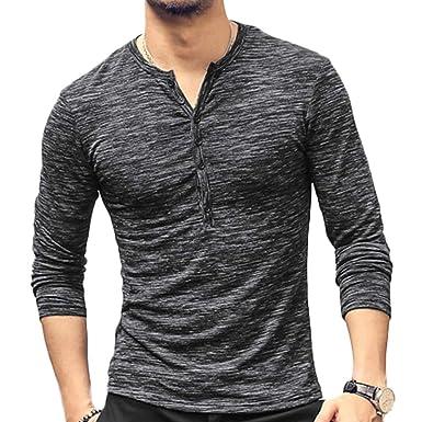 d09236d0 Romantiko Mens Slim Fit Basic Long Sleeve Casual Tops Tee Henley T Shirt  Black M