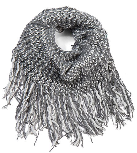 AOLOSHOW Double Color Ribbed Knit One Circle Tube Infinity Fringe Scarf, Grey & (Knit Fringe Scarf)