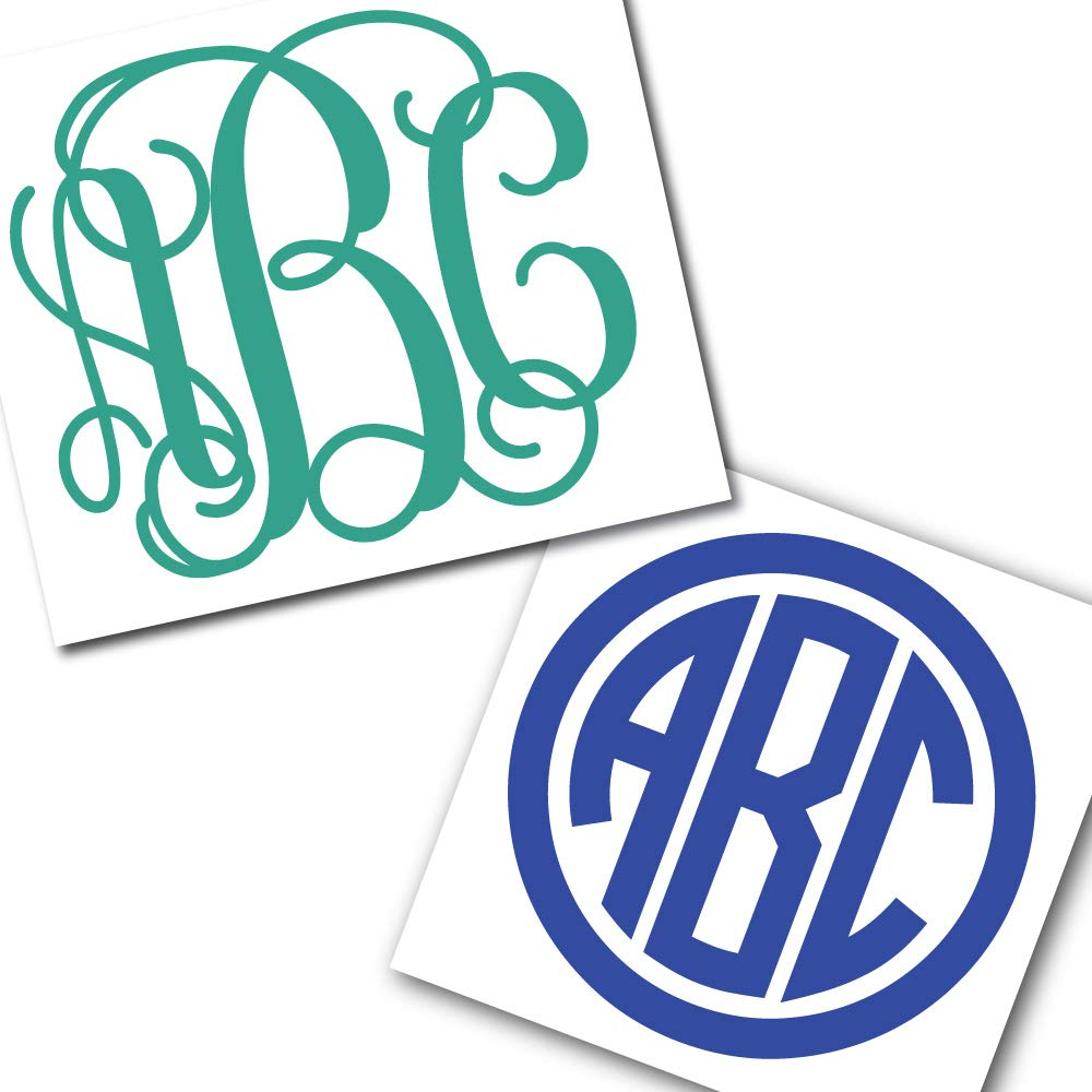 Custom personalized vine or circle monogram initials sticker decal for yeti cups laptops tumblers car windows home kitchen